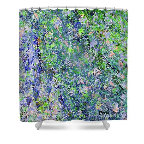Blue And Green Cascade Shower Curtain