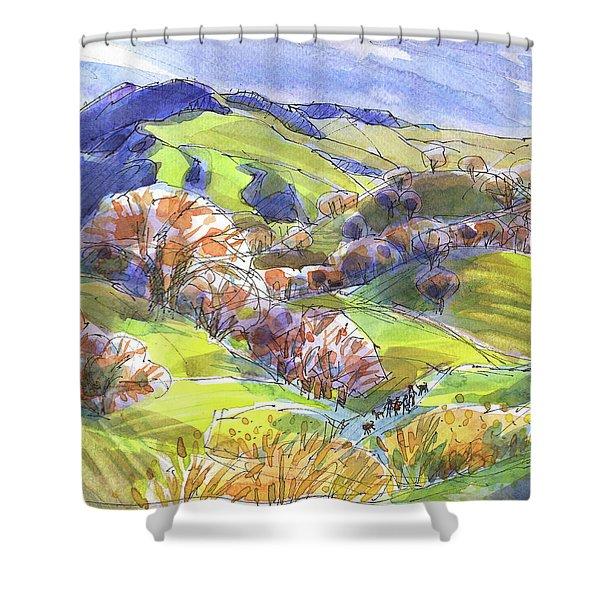February Landscape With Mount Diablo Shower Curtain