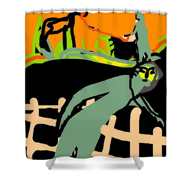 Fence Worker Shower Curtain