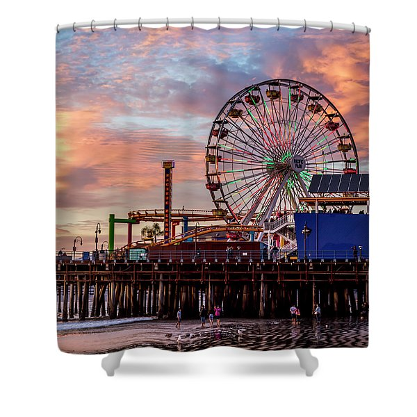 Ferris Wheel On The Pier - Square Shower Curtain
