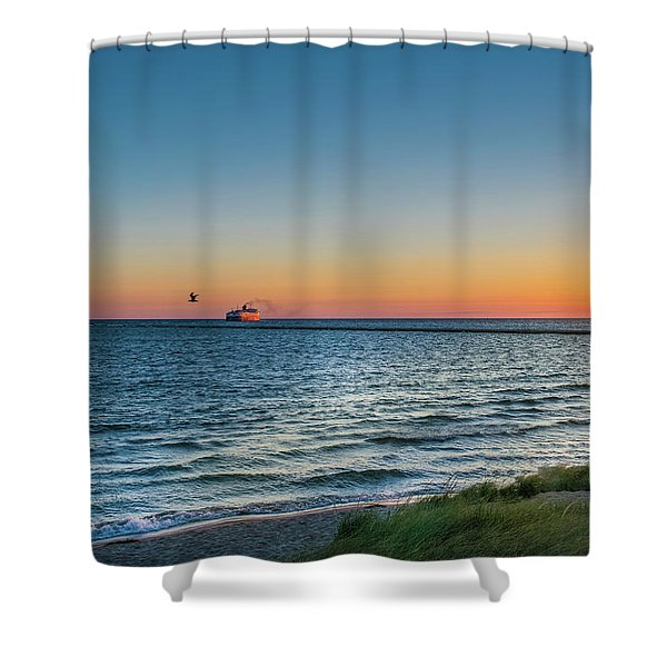 Shower Curtain featuring the photograph Ferry Going Into Sunset by Lester Plank