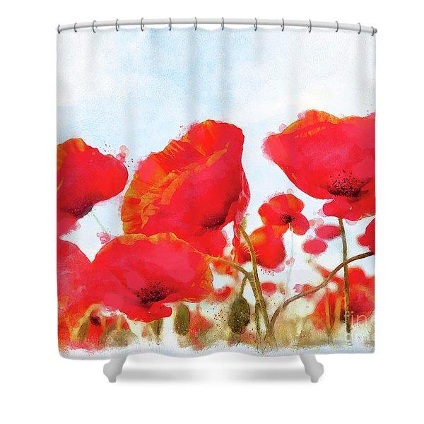 Field Of Dreams Poppy Watercolor Floral Art Shower Curtain