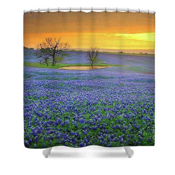 Field Of Dreams Texas Sunset - Texas Bluebonnet Wildflowers Landscape Flowers  Shower Curtain