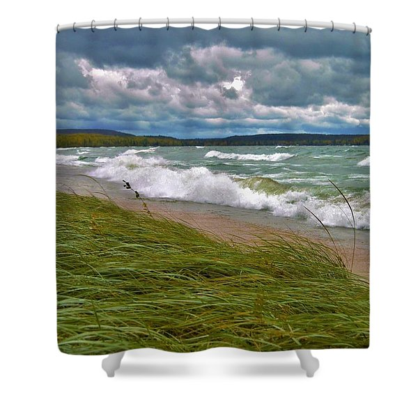 Field Of Green On Lake Superior Shower Curtain