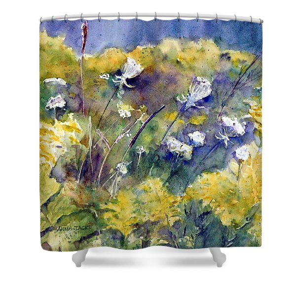Fields Of White And Gold Shower Curtain