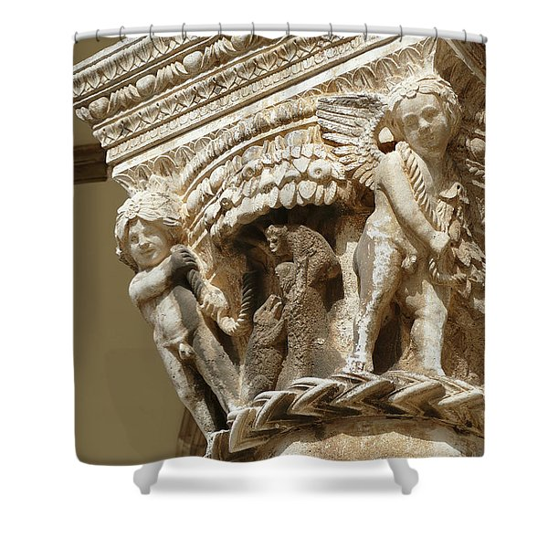 Figures On Capitals Of The Rector's Palace Shower Curtain