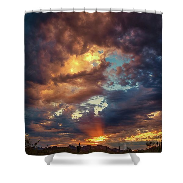 Finger Painted Sunset Shower Curtain