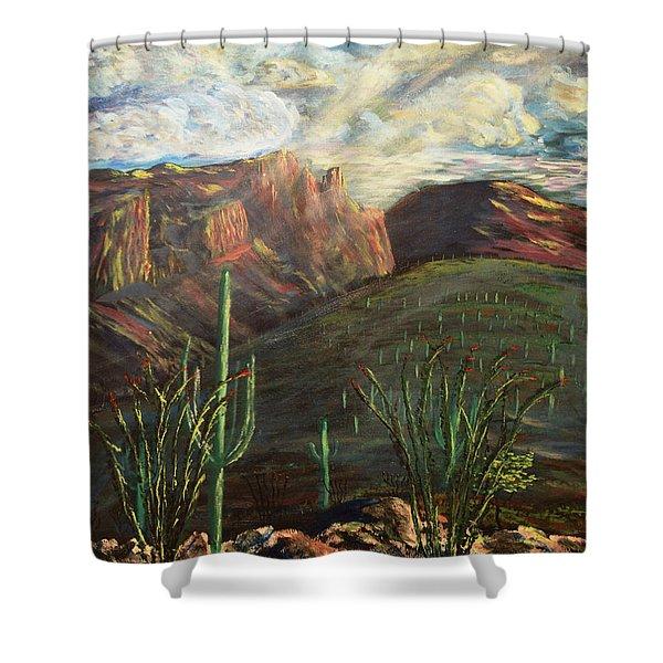 Finger Rock Morning Shower Curtain