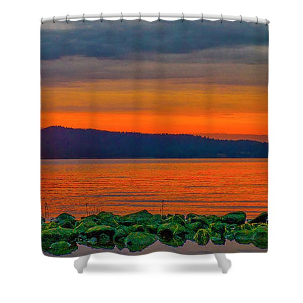 Shower Curtain featuring the photograph Fire Rock by Tom Gresham