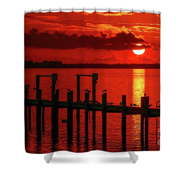 Shower Curtain featuring the photograph Fireball And Pier Sunrise by Tom Claud