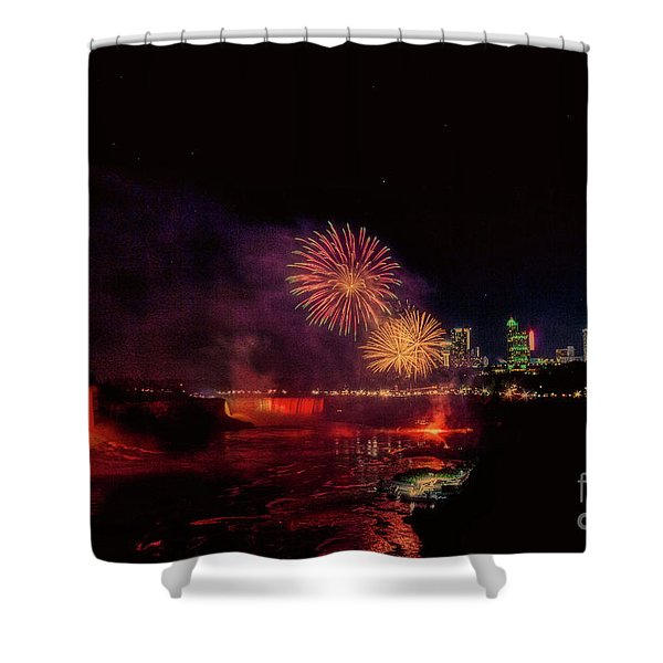 Fireworks Over The Falls. Shower Curtain