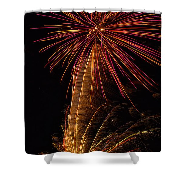 Shower Curtain featuring the photograph Fireworks Palm Tree by Meta Gatschenberger