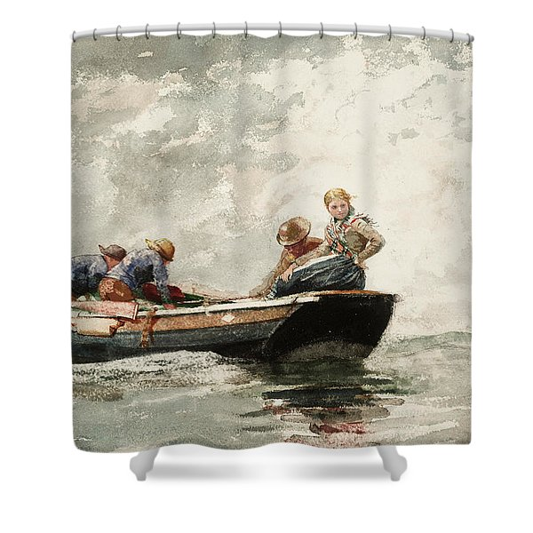 Fisher Folk In A Dory, 1881 Shower Curtain