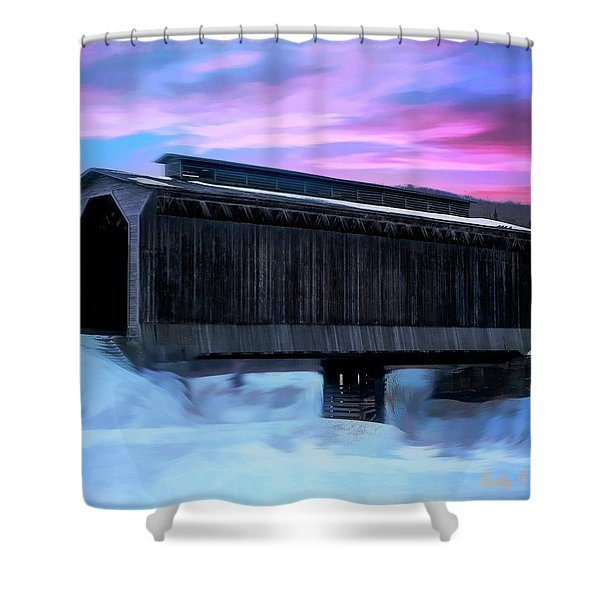Fisher Raiilroad Covered Bridge Wolcott Vermont. Shower Curtain