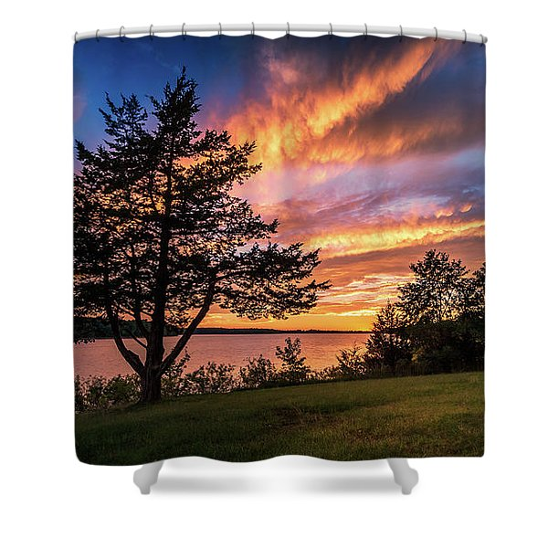 Fishing At End Of Day Shower Curtain
