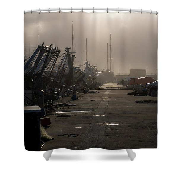 Fishing Boats Moored In The Harbor Shower Curtain
