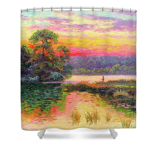 Fishing In Evening Glow Shower Curtain