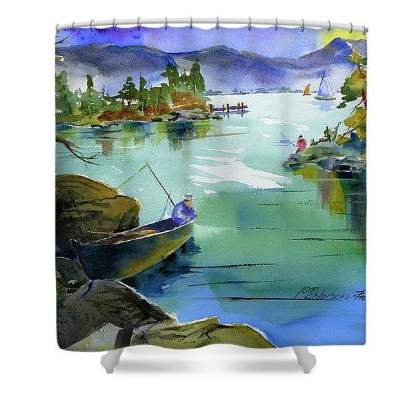Fishing Lake Tahoe Shower Curtain
