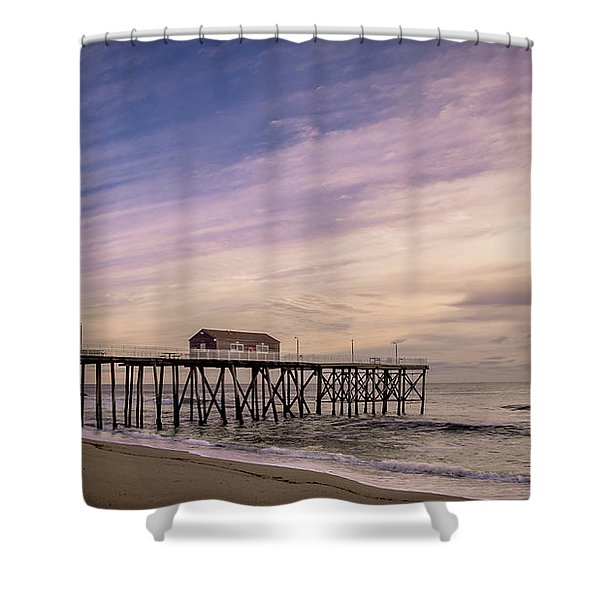 Fishing Pier Sunrise Shower Curtain