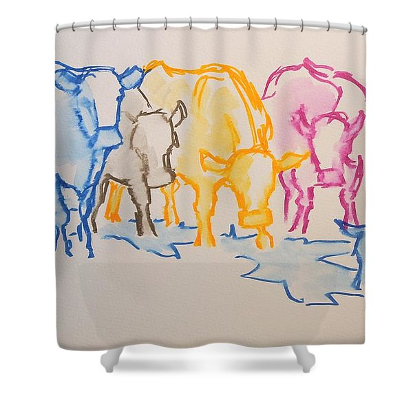 Five Cows Five Colors Watercolor Line Drawing Shower Curtain