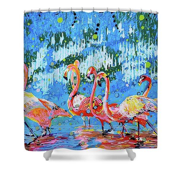 Flamingo Pat Party Shower Curtain