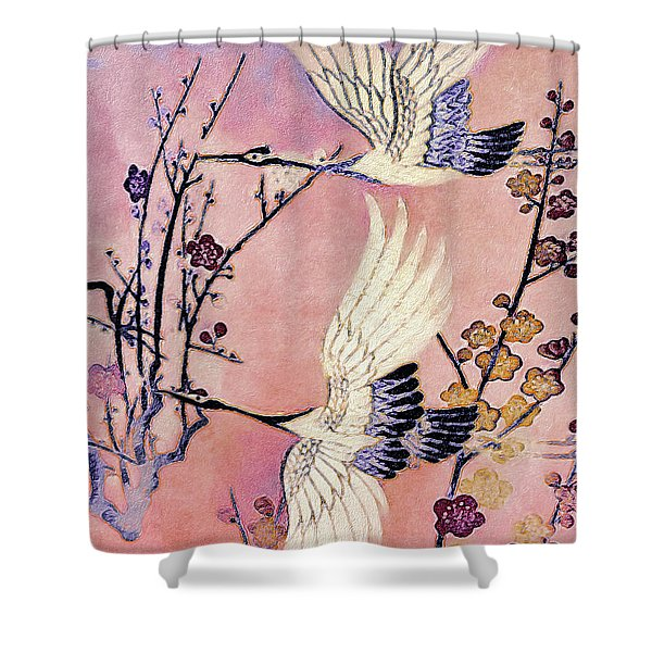 Flight Of The Cranes - Kimono Series Shower Curtain