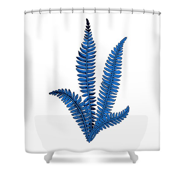 Floating Blue Plant Shower Curtain