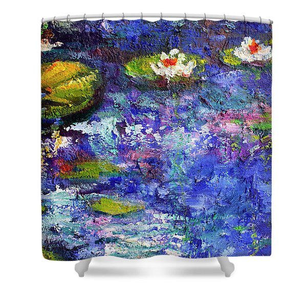Floating Lilies Oil Painting Shower Curtain