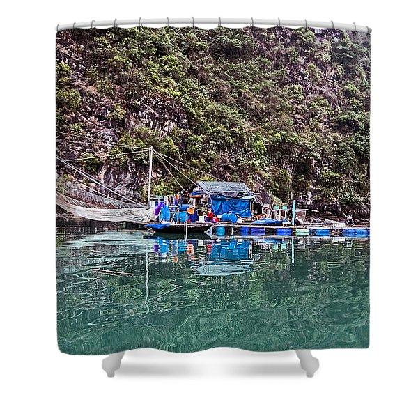 Floating Market - Halong Bay, Vietnam Shower Curtain