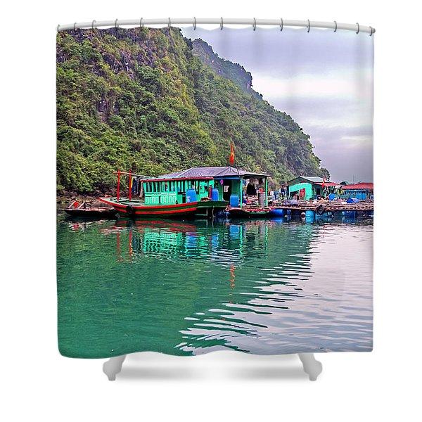 Floating Market In Halong Bay, Vietnam Shower Curtain