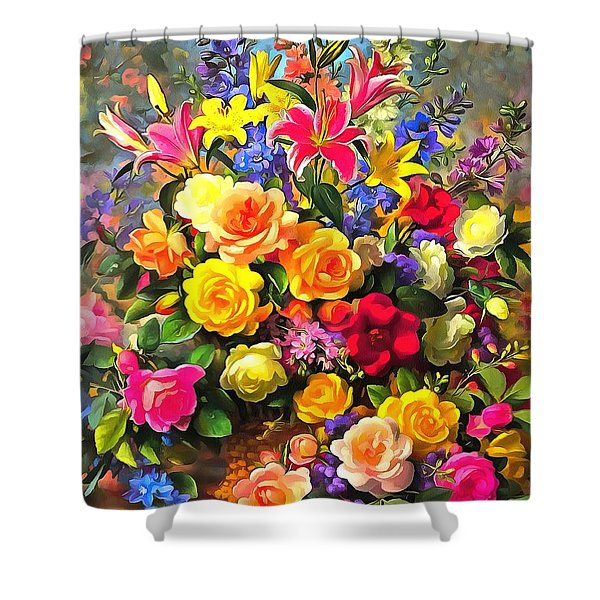 Floral Bouquet In Acrylic Shower Curtain