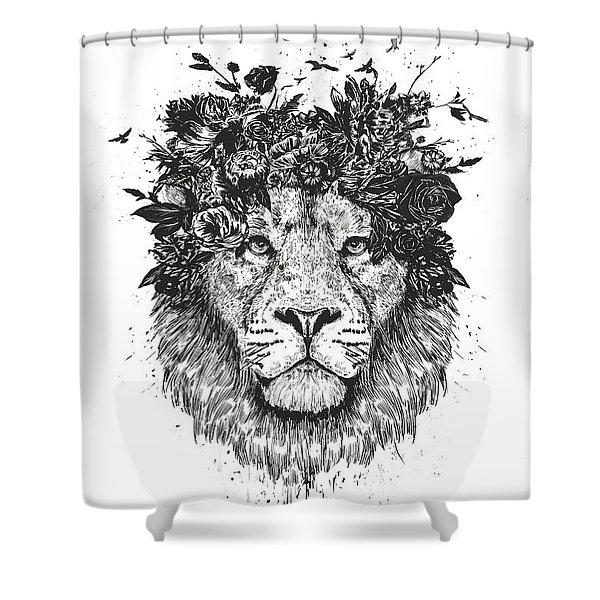 Floral Lion Shower Curtain