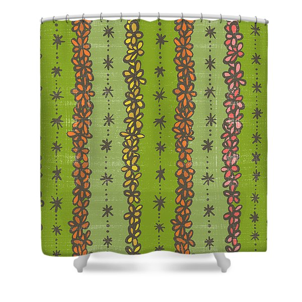 Floral Stripes Pattern Shower Curtain