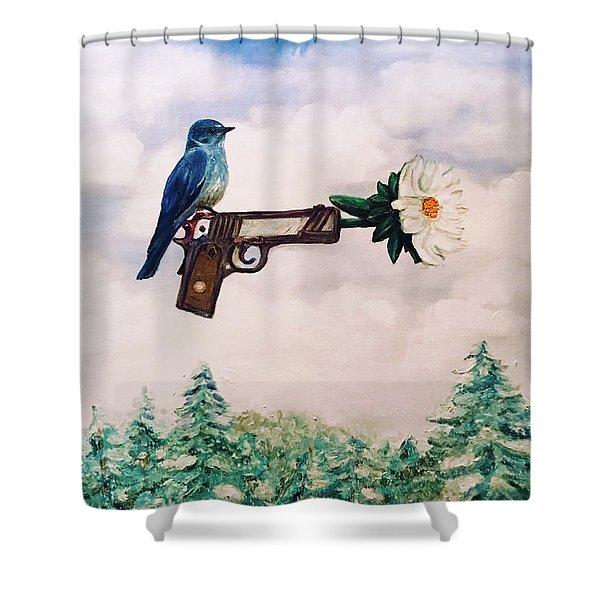 Flower In A Gun- Bluebird Of Happiness Shower Curtain
