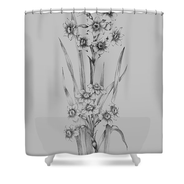 Flower Sketch I Shower Curtain