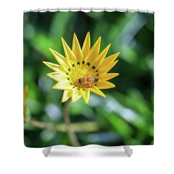 Yellow Flowers And A Bee Shower Curtain