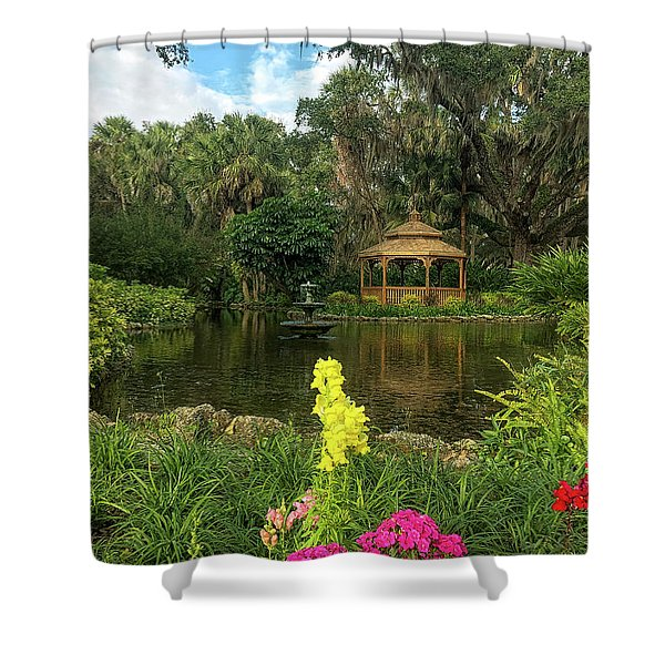 Flowers To Gazebo By The Lake Shower Curtain