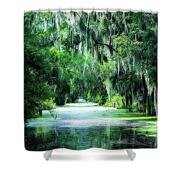 Flush With Green Shower Curtain