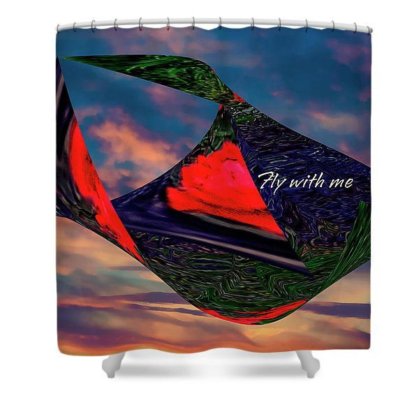 Shower Curtain featuring the mixed media Fly With Me by Gerlinde Keating - Galleria GK Keating Associates Inc