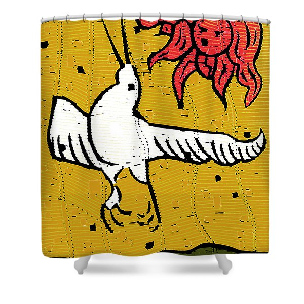 Flying Bird And Red Sun Face Shower Curtain