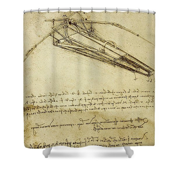 Flying Machine, Codex Atlanticus By Leonardo Da Vinci Shower Curtain