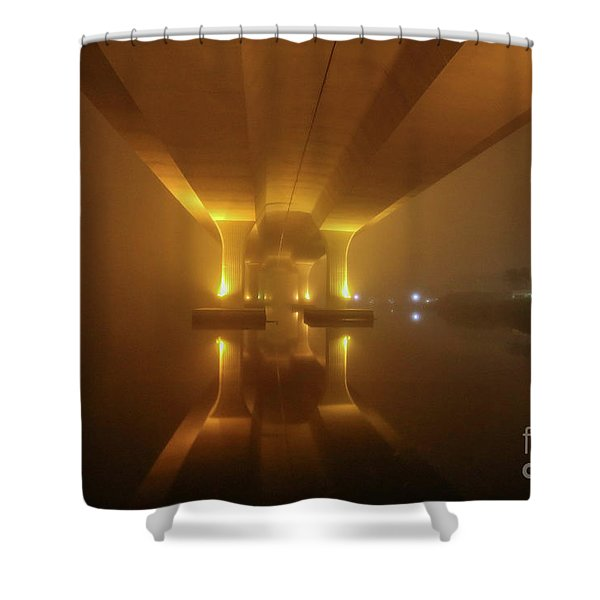 Shower Curtain featuring the photograph Foggy Bridge Glow by Tom Claud