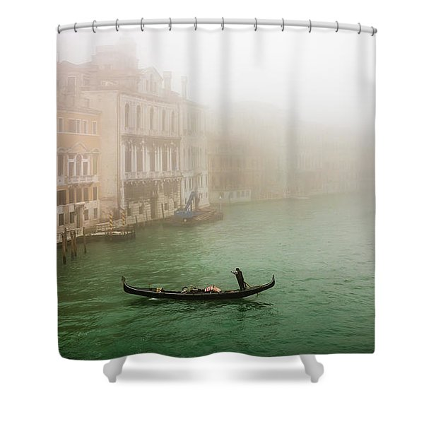 Foggy Morning On The Grand Canale, Venezia, Italy Shower Curtain