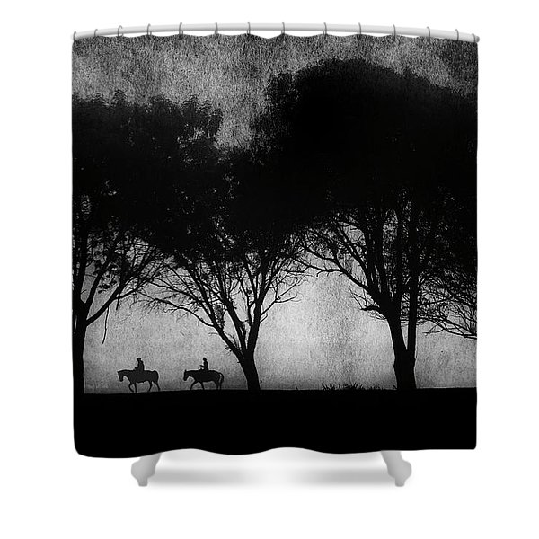Foggy Morning Ride Shower Curtain