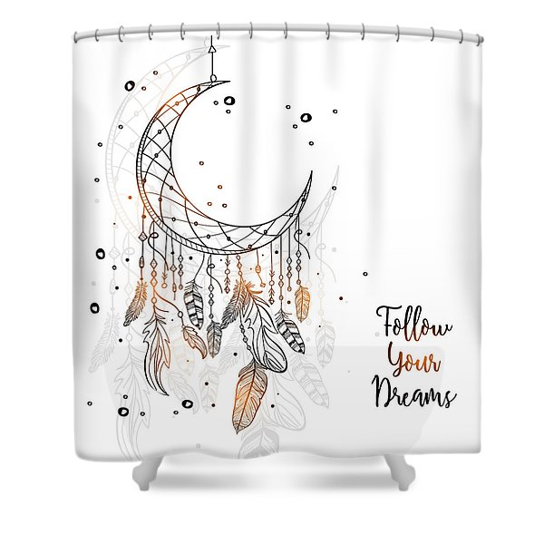 Follow Your Dreamcatcher - Boho Chic Ethnic Nursery Art Poster Print Shower Curtain