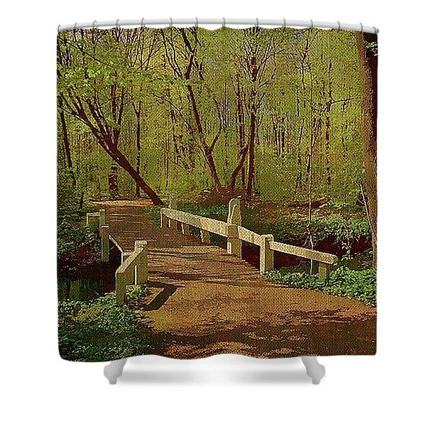 Footbridge Through The Woods Shower Curtain