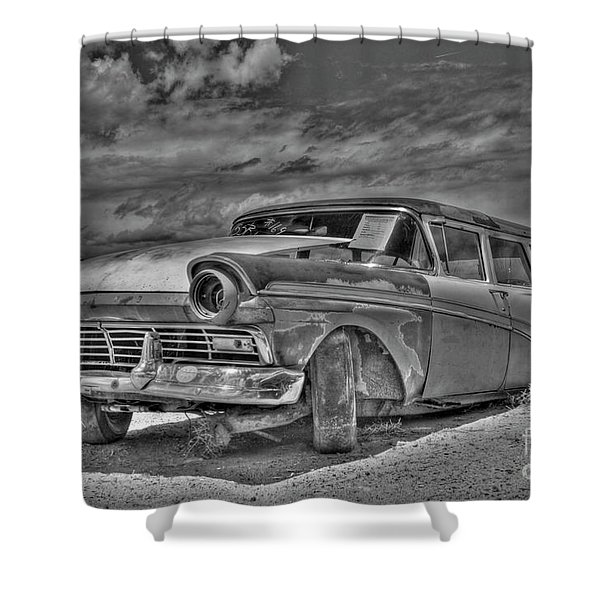 Ford Country Squire Wagon - Bw Shower Curtain