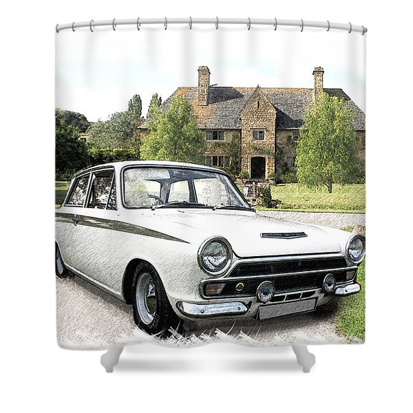 Ford 'lotus' Cortina Shower Curtain