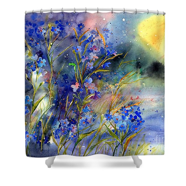 Forget-me-not Watercolor Shower Curtain