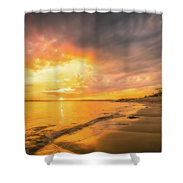 Shower Curtain featuring the photograph Fort Foster Sunset Watchers Club by Jeff Sinon